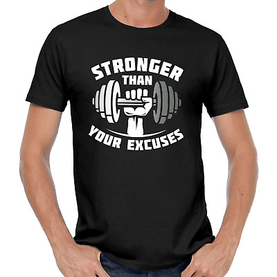 Stronger than your Excuses Gym Crossfit Train Bodybuilding Sprüche Spaß T-Shirt