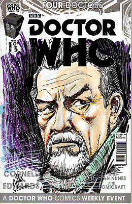 """Mike Collins Original Sketch """"Doctor Who"""" Blank Cover"""