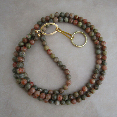 lanyard autumn Fall jasper gold ID badge key holder 32 inches handcrafted