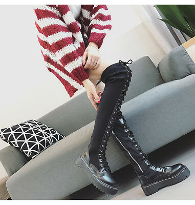 Womens Chunky Block Mid Heel Lace up Thigh Knee High Boots Punk Club Shoes Boots