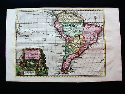 """1713 P. VANDER AA """"amazing map"""": SOUTH AMERICA, ARGENTINA, COLOMBIA, PERU, CHILE"""