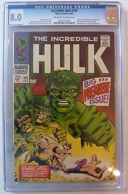 Incredible Hulk 102 Silver Age 1968 Official CGC 8.0 Graded Copy