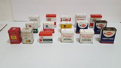 Lot Of Vintage Spice Tins Cans, Durkee, McCormick, Ann Page, Ideal