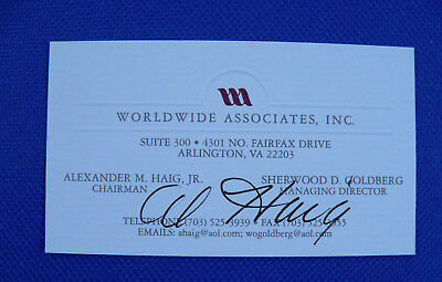 Alexander Haig Secretary of State Signed Business Card, as CEO  Worldwide Assoc.