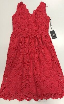 Adrianna Papell Women's V-Neck Sleeveless Fit-and-Flare Dress Coral Lace 4 NEW