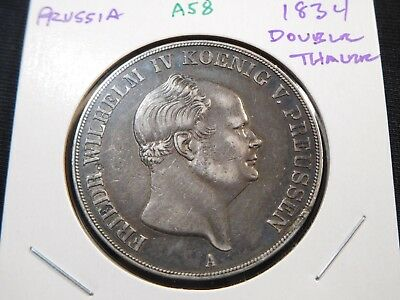 A58 German States Prussia 1834 Double Thaler