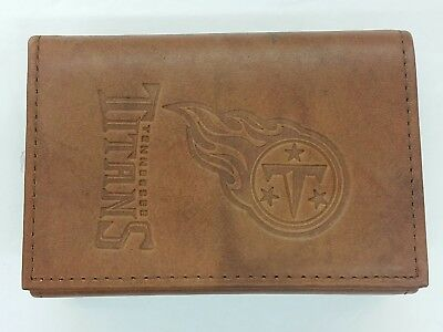 TENNESSEE TITANS Leather TriFold Wallet NEW dark brown 3v wd  hot sale