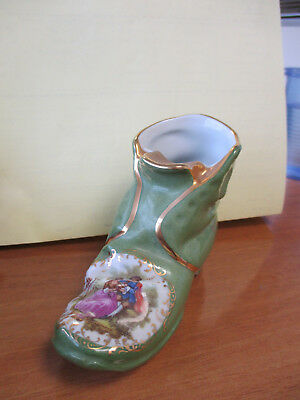 Limoges Green Courting Couple Scene Miniature Boot