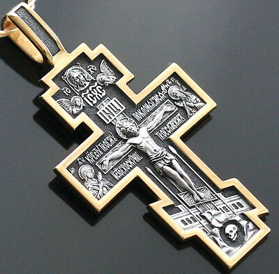 New Russian Jewelry Silver 925 Gold.999 Crucifix Orthodox Spiritual Gift Blessed