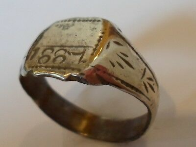 Christmas Offers,expertly Polished,detector Find,late Medieval 1887 Silver Ring