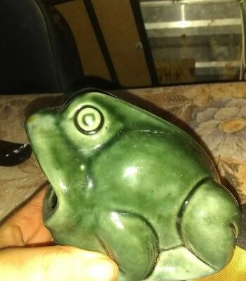 Vintage Ceramic Frog Open Mouth Scrubby Scouring Pad Sponge Holder Dark Green