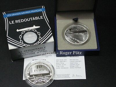 10 Euro 2014 Große Schiffe Frankreichs - Le Redoutable Silber PP
