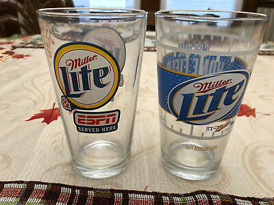 2 Miller Lite Beer Glasses One ESPN Served Here The Other Home Field Advantage
