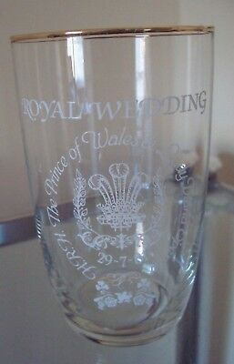 1981 Charles & Diana Royal Wedding Souvenir Glass Beaker - Nice Collectable!