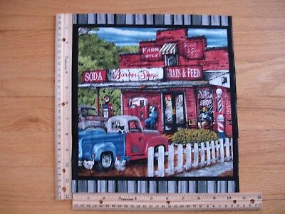 Country Life Barber Shop Soda Machine Truck Blank Cotton Quilt Fabric Block