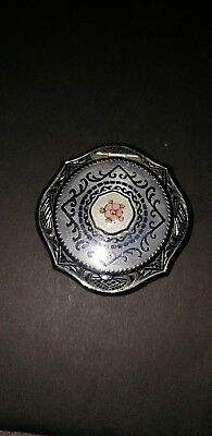 Vintage Compact Etched Silvertone with Enamel Center