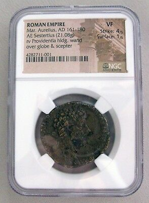 Ancient ROMAN EMPIRE Coin Marcus Aurelius, AD 161-180 NGC Graded VF;G131