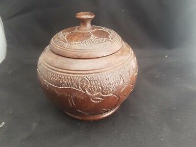 Heavy Wood Tobacco Jar With Rhino Carved Detail