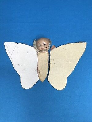 Vintage Antique Jointed Celluloid Baby Doll W Butterfly Wings