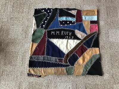Antique Crazy Quilt Block Many Diff Fabrics Dated 1923