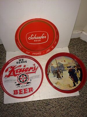 6 Vintage Rolling Rock,Kaier's,Scheidt's Valley Forge,Prior,Schaefer Beer Trays
