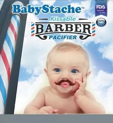 BabyStache Kissable Baby Pacifier. Kissable Barber Brown. Cute & Funny Mustache
