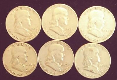 6 Franklin Half Dollars, Assorted Dates,1950,s .90% Silver, Circulated, $3.00 FV