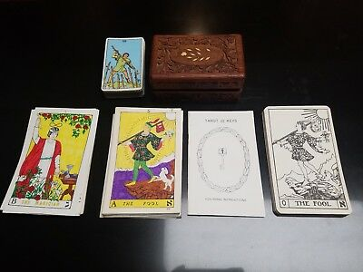 TAROT cards lot vintage Tarot Cards wooden Box Large and Small Cards