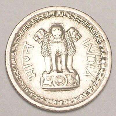 1959 India Indian 25 Naya Paise Three Lions Coin VF+