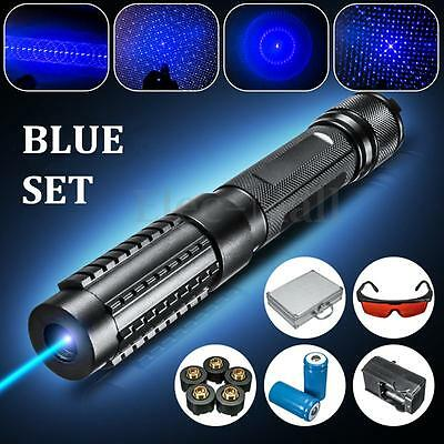 445nm Blue Light Laser Pointer Pen Beam 5 Head +2x16340 + Charger +Goggles 0.5MW