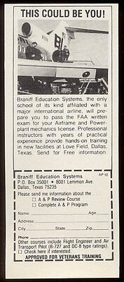 1974 Braniff International Education Systems aircraft maintenance school ad