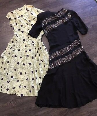 1930s 40s Circa Vintage Original Old Green Black Wartime Dresses X 2 Small
