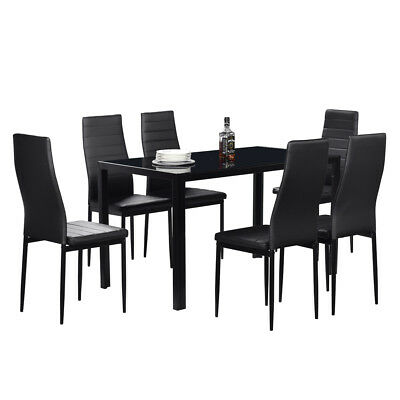 High Quality 7 Piece White Modern Dinette Dining Room Table with Black Chairs