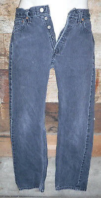 Vintage 1980's Levi's 501 Black Button Fly Denim Jeans Made In Usa 26 X 27 L@@k