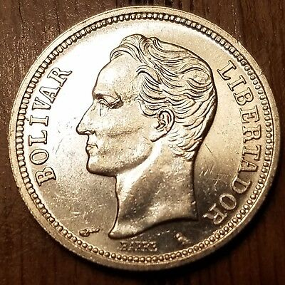 1965 Venezuela 1 Bolivar brilliant AU silver (0.8350) world coin