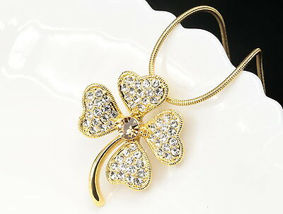 Charm clear crystals gold lucky clover pendant necklace wedding accessory6 S34