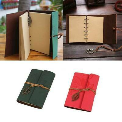 Vintage Retro PU Leather Leaf Journal Travel Notepad Notebook Blank Diary Book