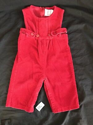 Vintage Jumper Corduroy Red Overalls Baby Toddler Girls Size 9 Months