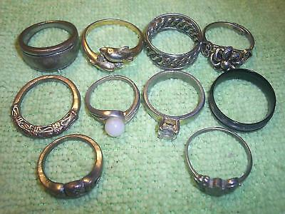 Vintage Costume Jewelry Lot Ten Old Fashion Rings +1 Sterling Silver Marked 925