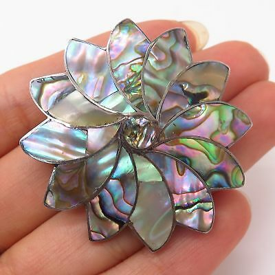 925 Sterling Silver Vintage Mexico Abalone Shell Floral Design Pin Brooch