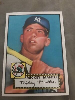 1952 Topps Mickey Mantle Reprint Glossy With Original Back