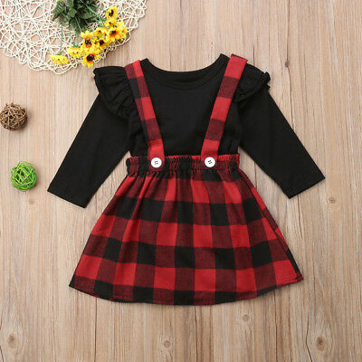 Christmas Toddler Baby Girl Dress Outfits Tops Shirt Bow Short Skirt Clothes UK