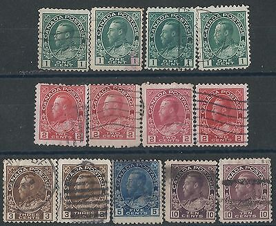 m134) Canada.1911/22. Used. SG 196 to 206,210,211. Royalty. c£20+