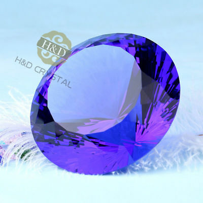 Big 80mm Crystal Dark Blue Paperweight Cut Glass Large Giant Diamond Xmas Gifts