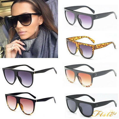Black Flat Top Shadow Sunglasses Women Tortoise Shield Luxury Oversized Glasses