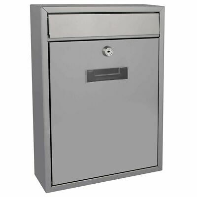 Perel Mailbox Ibiza Silver Outdoor Home Lockable Mail Letter Post Box BG40003
