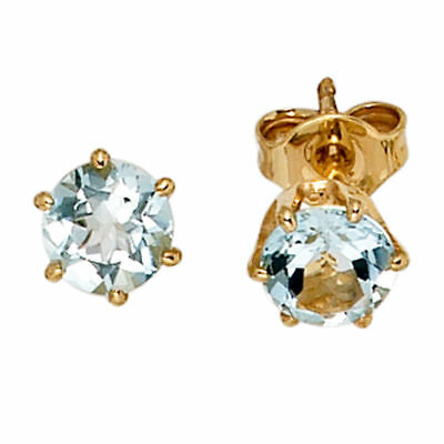 Earrings Stud with Aquamarine Light Blue 5,4mm & 585 Gold Yellow Gold Ladies