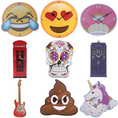Decorative Novelty Funky Wall Clock Assorted Designs Kids Bedroom Gift Novelty
