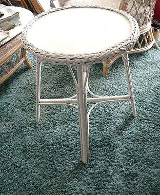 """Tall White Wicker Round Occasional Table 28.5"""" Inches Tall Used vintage"""