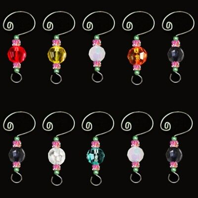 10 Decorative HOLIDAY Party Christmas Tree Beads Ornament Wire Hooks & Hangers A